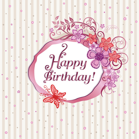 Pink floral happy birthday card Vector