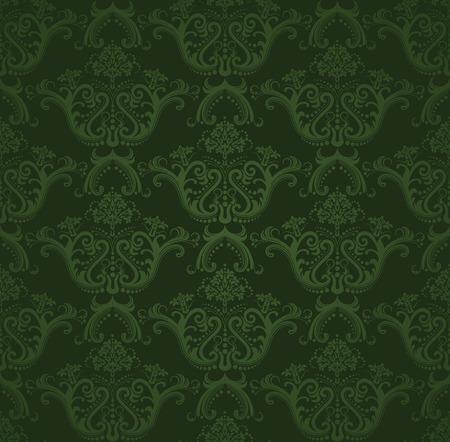 Dark green floral wallpaper Vector