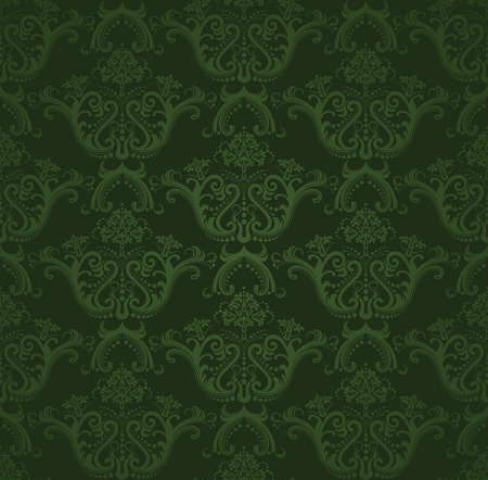 antique wallpaper:  Dark green floral wallpaper Illustration