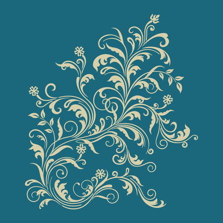 blue swirls: Floral ornament on turquoise background