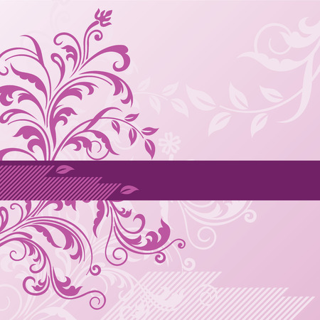 Pink floral background with banner Stock Illustratie