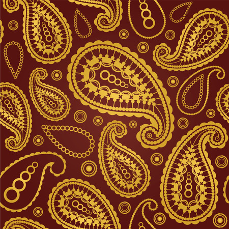 Seamless gold and brown paisley pattern Illustration