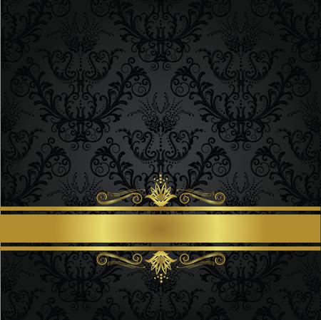 Luxe houtskool en goud boek cover. Achtergrond kan worden gebruikt als naadloze bloemen wallpaper Stockfoto - 9130914