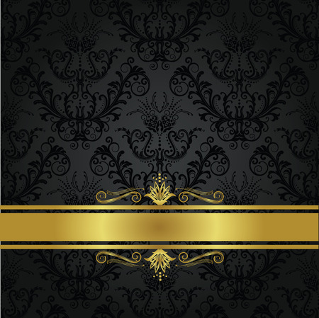 Luxury charcoal and gold book cover. Background can be used as seamless floral wallpaper Ilustracja