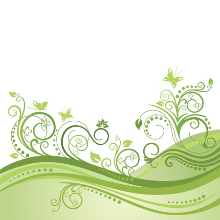 Green spring field, flowers and butterflies
