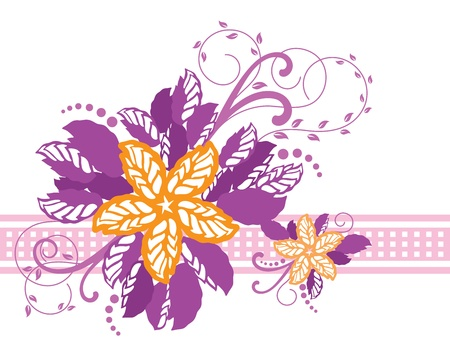 Pink and yellow floral banner Stock Vector - 9329088