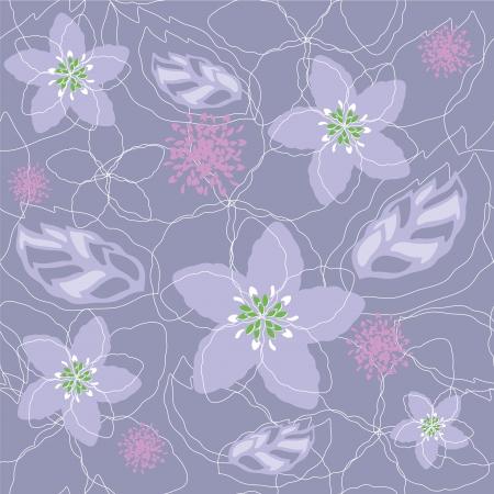 Seamless light purple floral pattern Vector