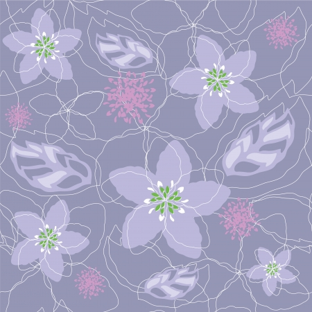 pastel flowers: Seamless light purple floral pattern Illustration