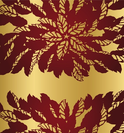 Red floral lace borders on golden background Vector