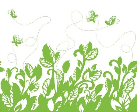 Seamless green foliage and butterflies border Stock Vector - 9371522