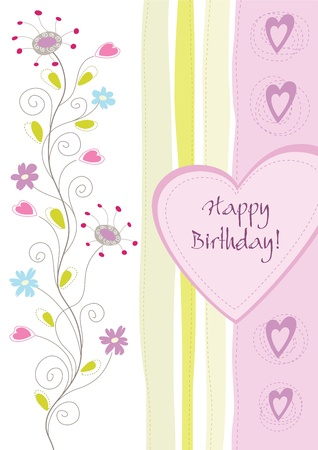 feminine background: Happy birthday floral greeting card