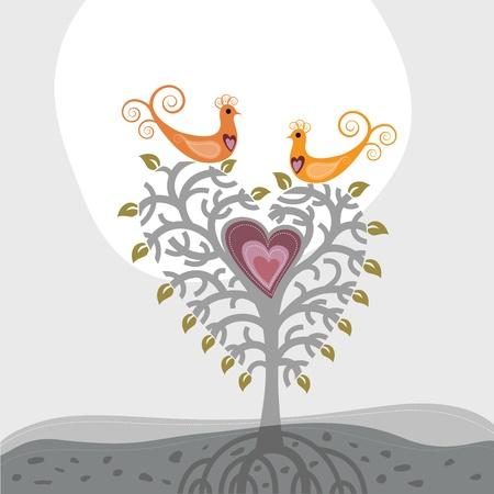 Liefde vogels en hartvormige boom Stock Illustratie