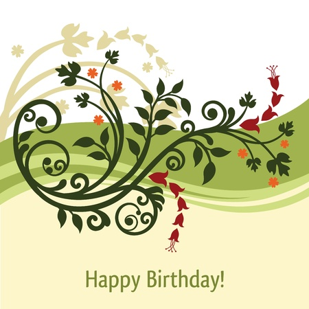 Green and yellow birthday card Vector