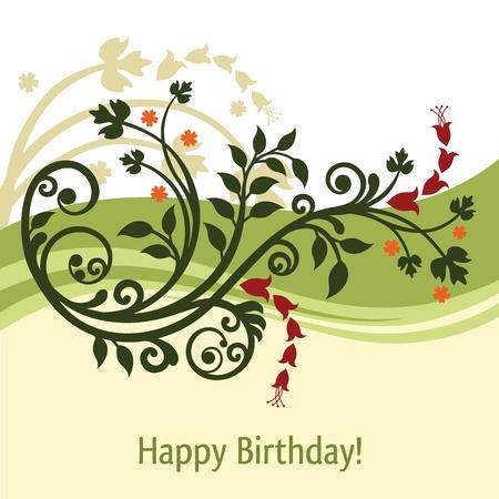 Groen en geel verjaardagskaart Stock Illustratie