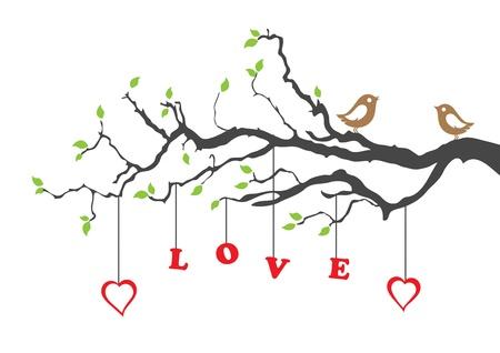 Twee vogels van de liefde en liefde boom Stock Illustratie