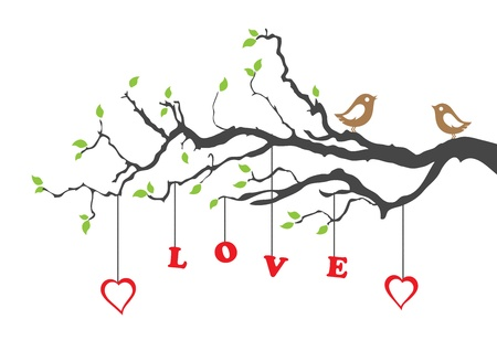 love words: Two love birds and love tree