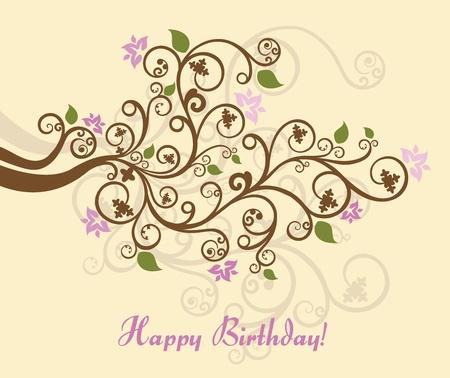 decal: Feminine floral happy birthday card Illustration