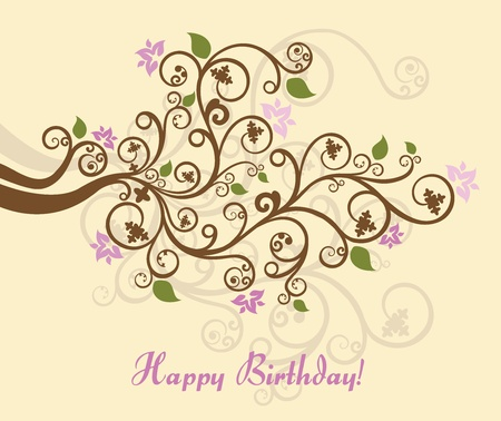 Feminine floral happy birthday card Stock Illustratie