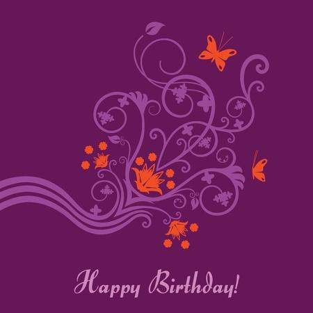 deseos: Felicitaci�n de cumplea�os floral p�rpura y Rosa