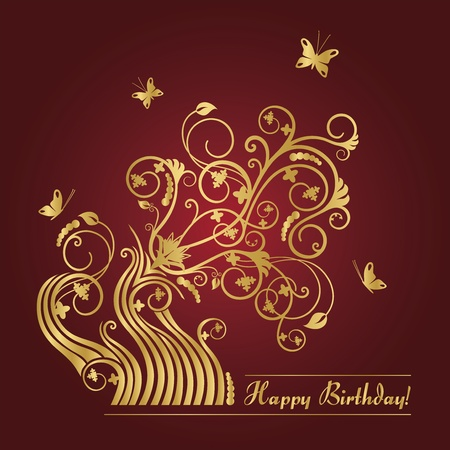Red and gold floral birthday card Stock Illustratie