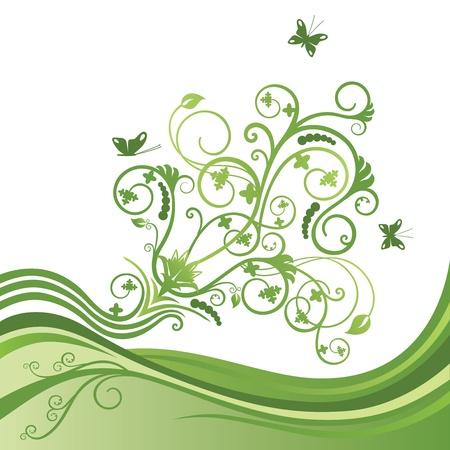 Verte élégante frontière de fleurs et de papillons Vecteurs