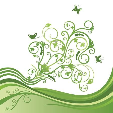 bordure vigne: Verte �l�gante fronti�re de fleurs et de papillons Illustration