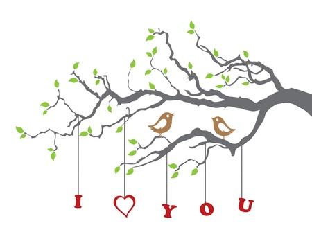 Aves en el amor en una rama de árbol