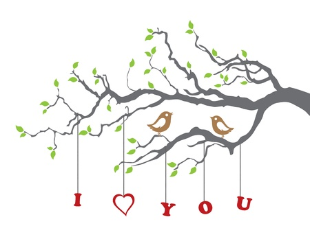 love words: Birds in love on a tree branch