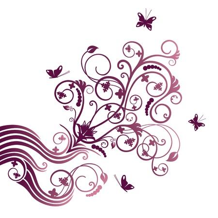 virágzó: Lila virág és pillangó sarok dísz Illusztráció