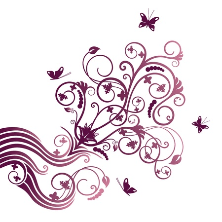 decal: Purple flower and butterfly corner ornament
