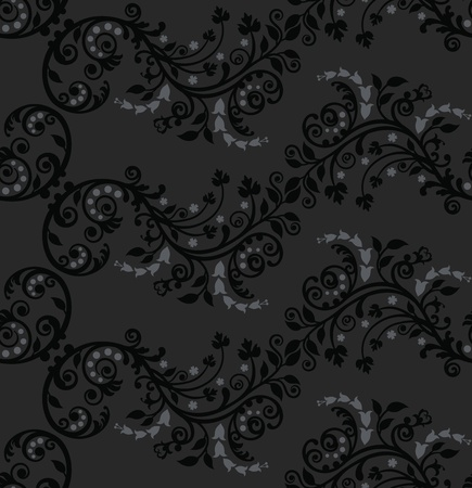Seamless black and silver foliage pattern Vector