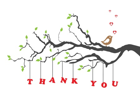love you: Thank you greeting card with bird