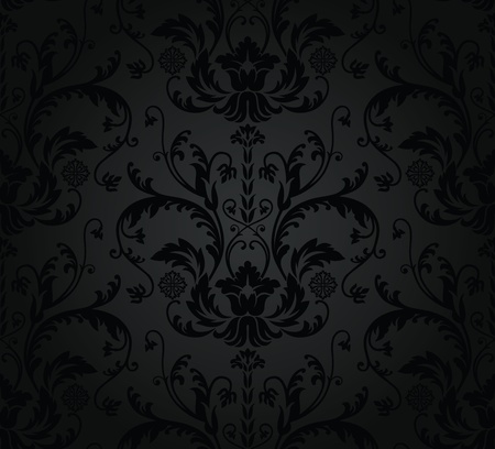 antique wallpaper: Charcoal seamless floral wallpaper