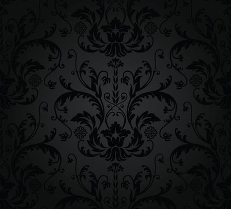 damast: Kohle seamless floral wallpaper Illustration