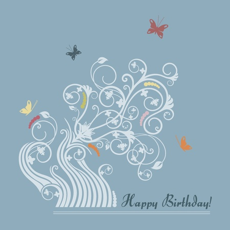 Cute floral happy birthday card Stock Vector - 10703339
