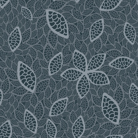 Seamless grey leaves wallpaper Vector