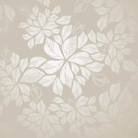Naadloze zilveren bladeren behang