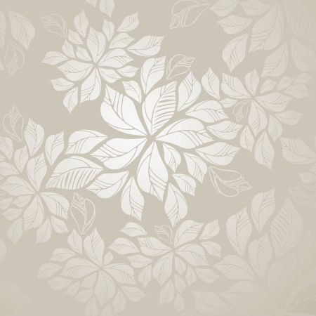 Seamless silver leaves wallpaper Vector
