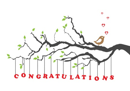 Congratulations card greeting with bird Illustration