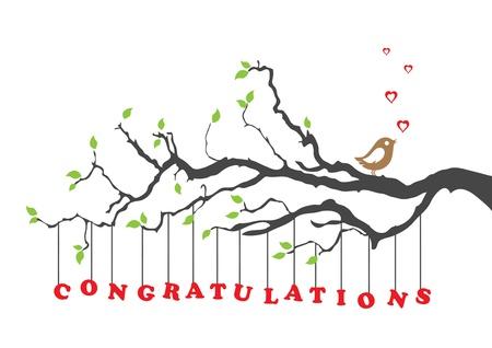 Gefeliciteerd kaart begroeting met vogel Stock Illustratie