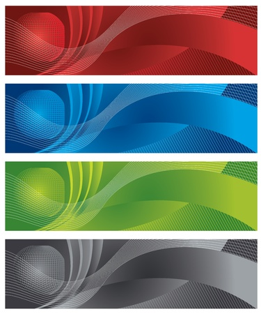 Globe en halftoon digitale banners Stock Illustratie