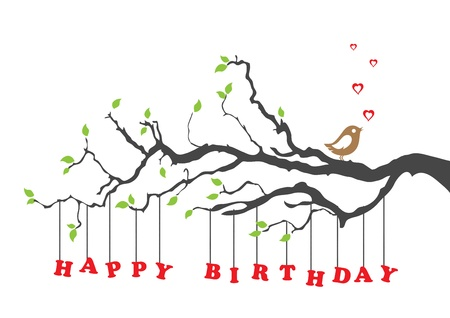 happy birthday heart shapes: Happy birthday greeting card with bird
