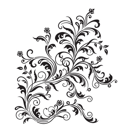 Black floral ornament isolated Vector