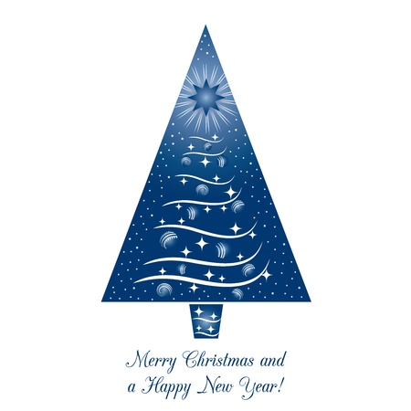 Blue Christmas Tree Greeting Card Stock Vector - 11591211