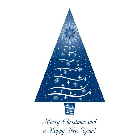 Blue Christmas Tree Kaart van de Groet Stock Illustratie