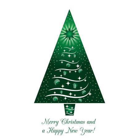 Green Christmas Tree Greeting Card Illustration