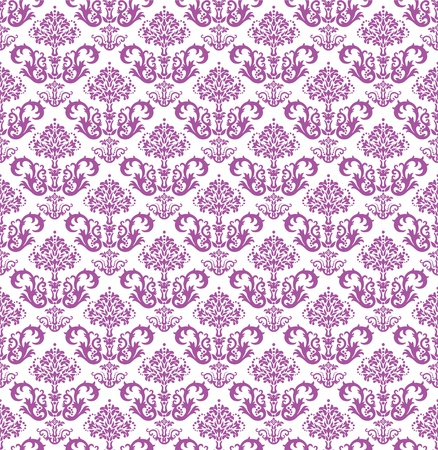 Seamless pink floral wallpaper on white Vector