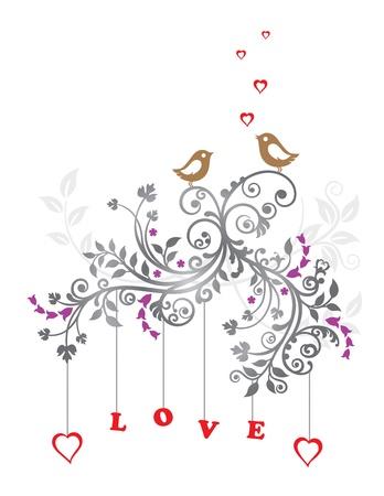 Liefde vogels en een prachtige florale versiering
