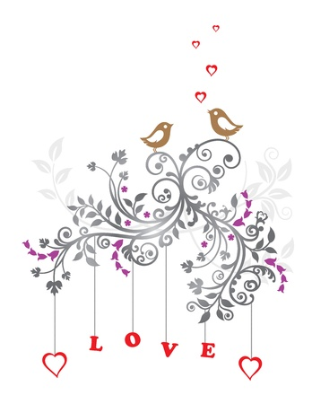 love confession: Love birds and a beautiful floral ornament