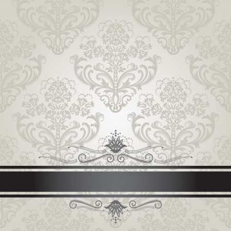 Luxury floral silver and black book cover Ilustracja